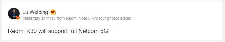 Le Xiaomi Redmi K30, d'ores et déjà en conception, sera compatible 5G