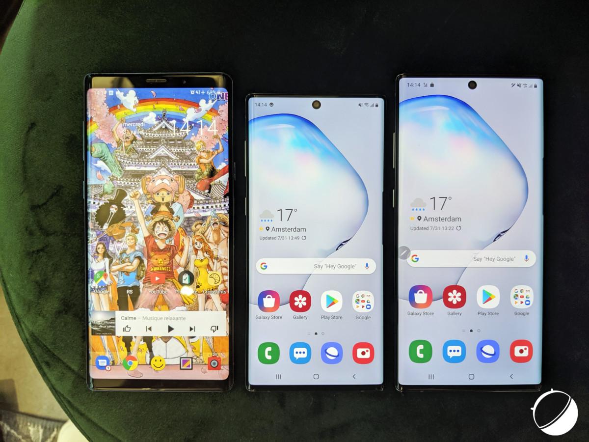 De gauche à droite : Galaxy Note9, Galaxy Note10 et Galaxy Note10+
