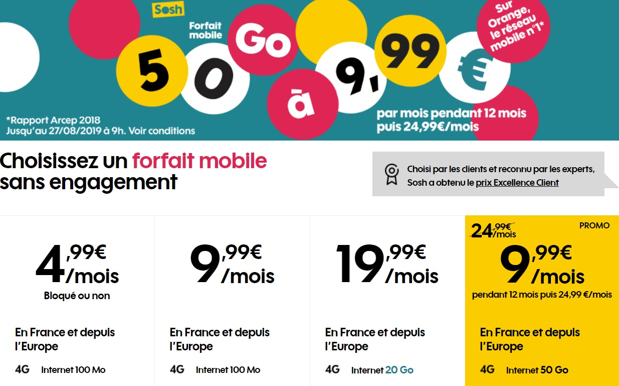 Mobile : the offer Sosh 50 Gb to 9 99 euro makes its return