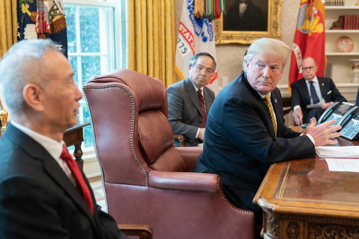 Donald Trump en 2019 avec le vice Premier ministre chinois Liu He.
