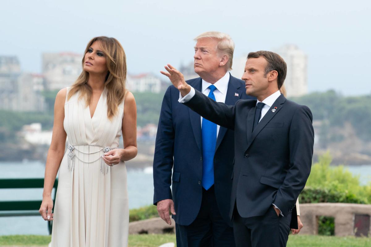Melania Trump, Donald Trump et Emmanuel Macron au sommet du G7 à Biarritz le 24 août 2019. Source : Maison Blanche