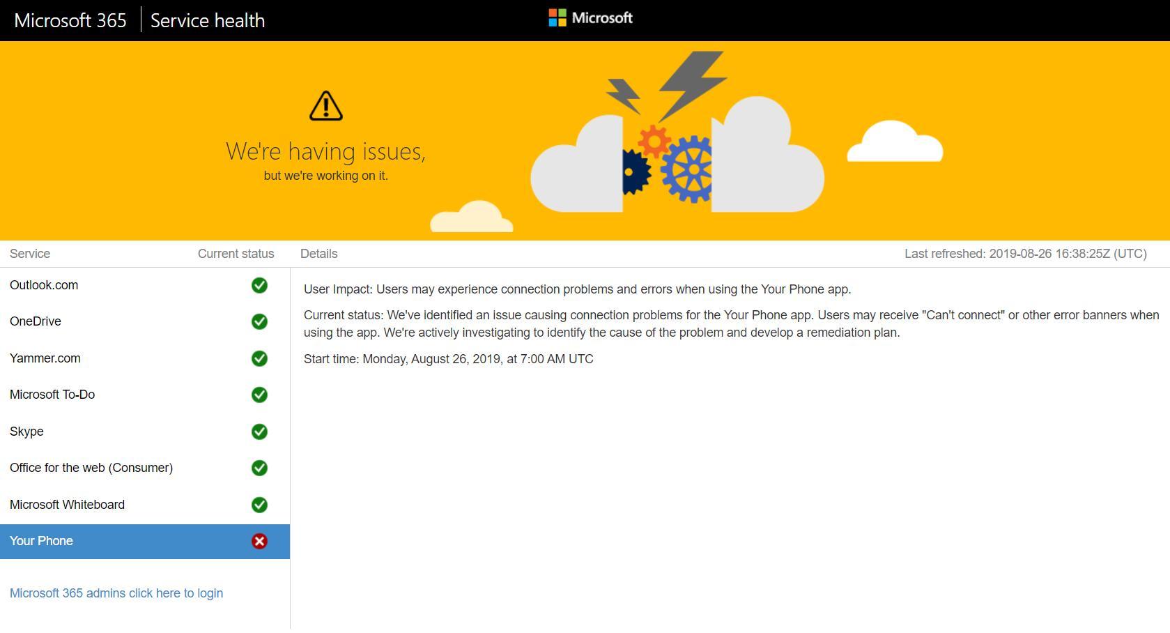 La page de Microsoft indiquant une panne