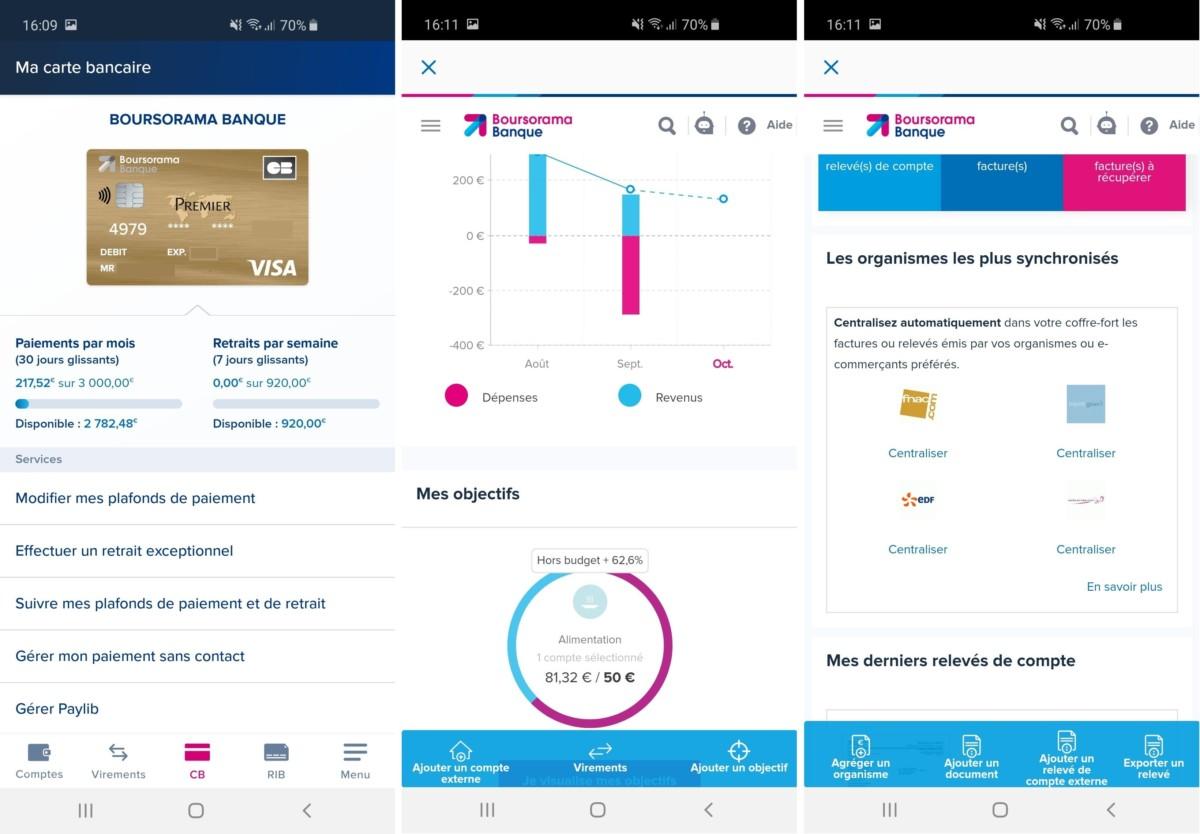 Gestion du plafond de la carte bancaire, graphiques divers, réception automatique des factures et relevés, les services sont nombreux.