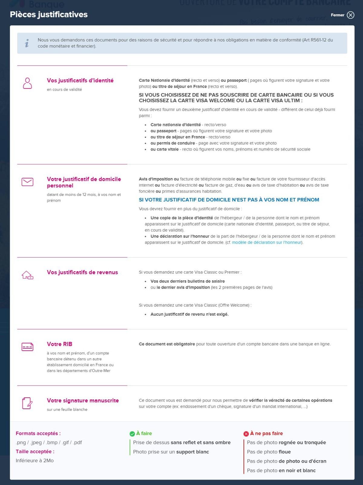 La liste des pièces justificatives nécessaires pour l'ouverture d'un compte Boursorama Banque.
