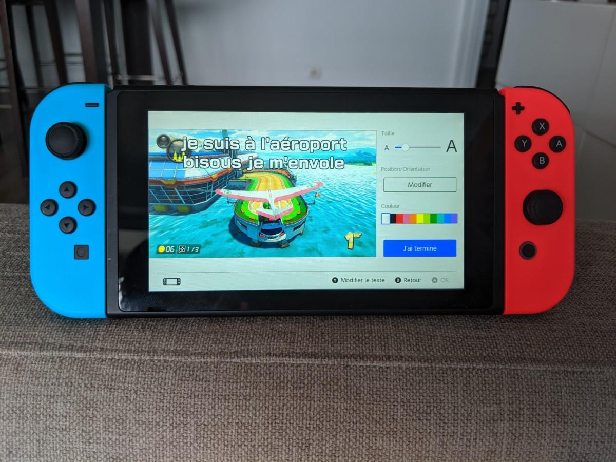 Menu de partage de capture d'écran de la Switch