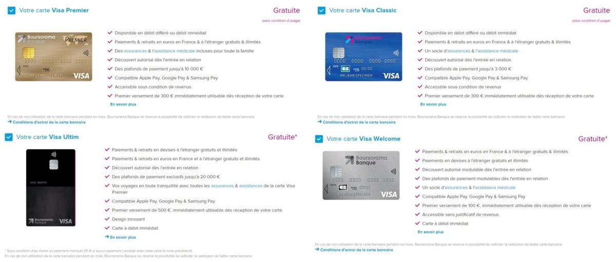 La présentation des cartes bancaires est irréprochable lors du choix de son offre.