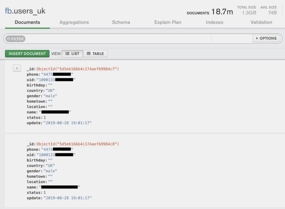 Un extrait d'une des bases de données du serveur, traitant d'utilisateurs britanniques. Source : TechCrunch