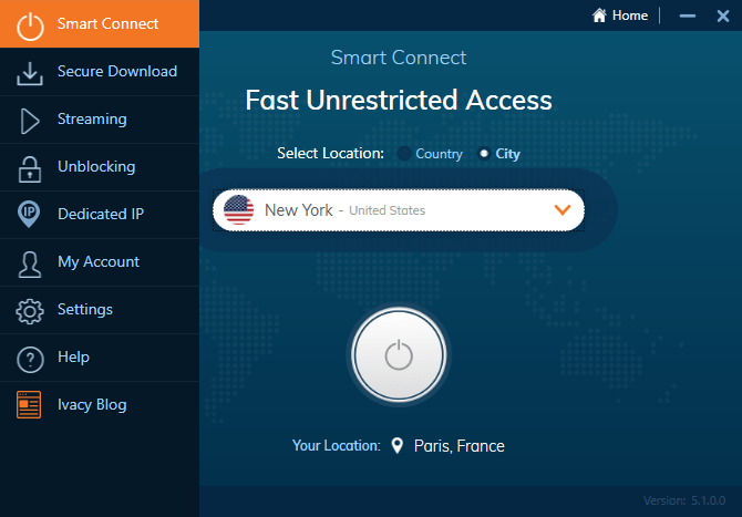 L'interface des clients de VPN – ici Ivacy VPN – est très simple à prendre en main. Un unique clic suffit pour se connecter à un serveur !