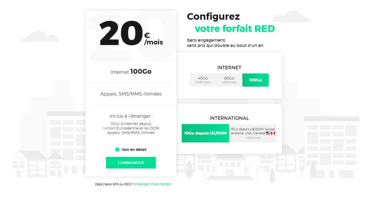 Les nouveaux forfaits Red by SFR permettent d'avoir entre 40 et 100 Go de 4G par mois pour seulement 10 à 20 euros par mois, sans engagement.