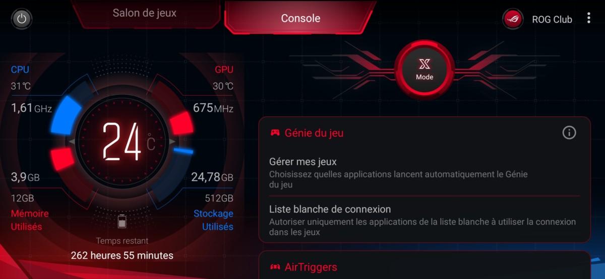 Le mode jeu du ROG Phone 2