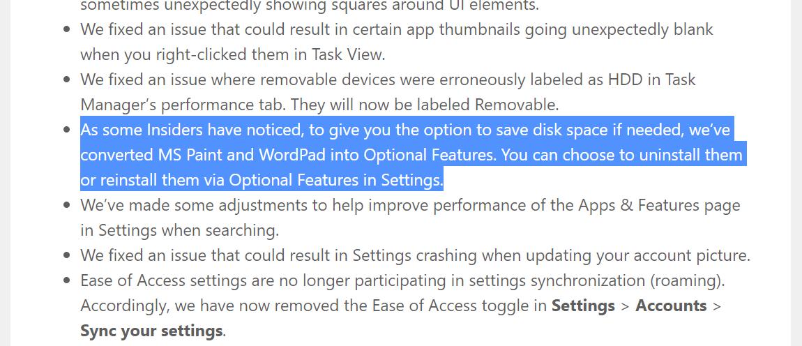 Windows 10 prépare la retraite Paint et WordPad, qui deviennent optionnels