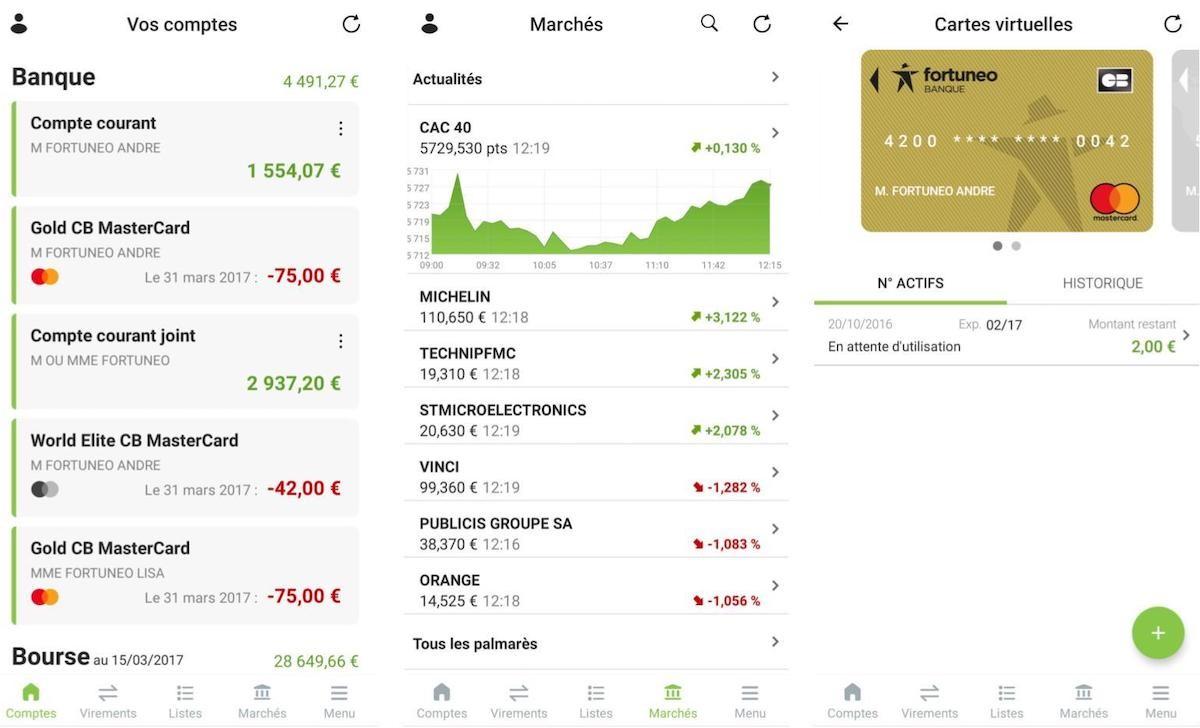 La bourse est largement mise en avant dans l'application Fortuneo