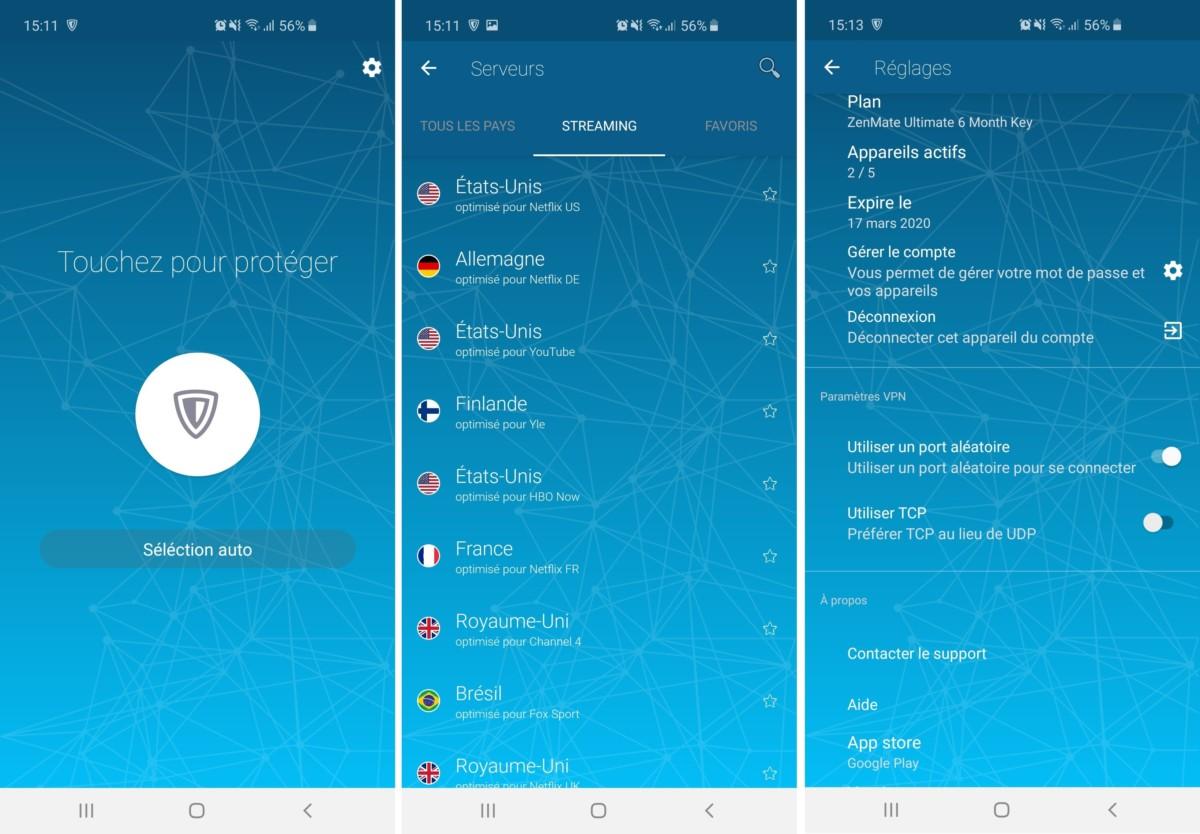 L'application Android de Zenmate est très simple à prendre en main.