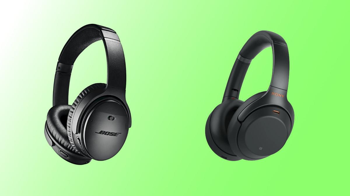 Le BoseQC35 II à gauche, le SonyWH-1000XM3 à droite.