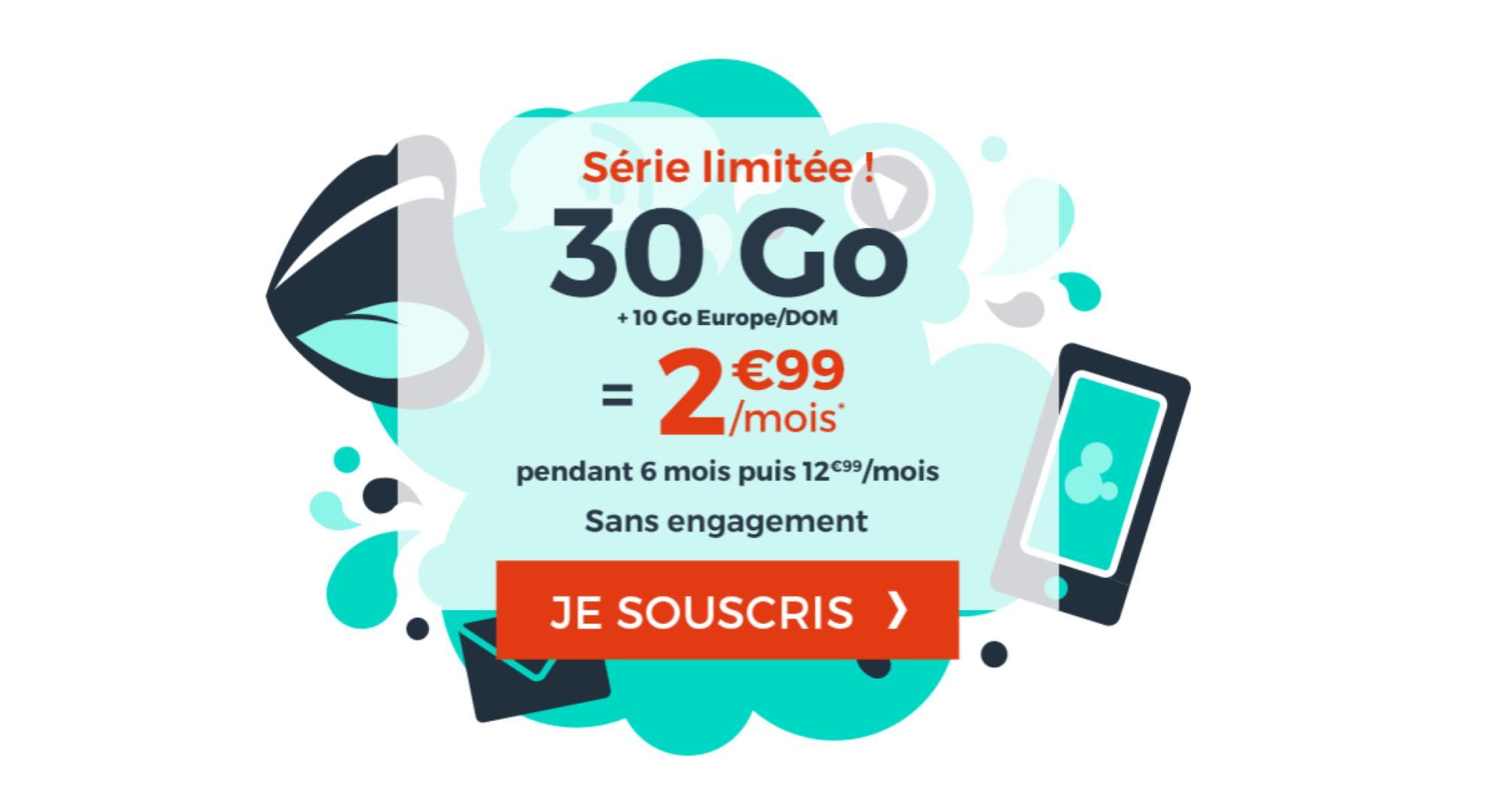 Dernier jour pour le forfait mobile à petit prix avec 30 Go en France et 10 Go en Europe