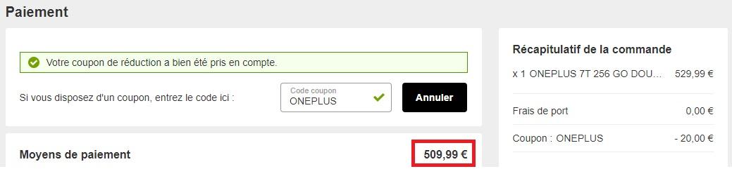 Nouveau prix de 509 euros pour le OnePlus 7T 256 Go avec le code promo «ONEPLUS».