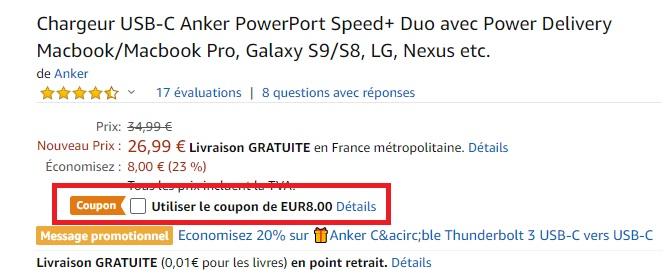 Le chargeur Anker PowerPort Speed+ Duo à 18 euros peut recharger 2 appareils en même temps