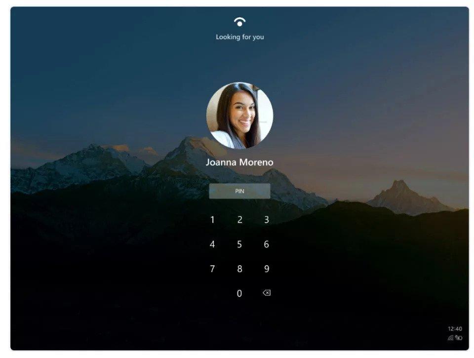 L'écran d'authentification