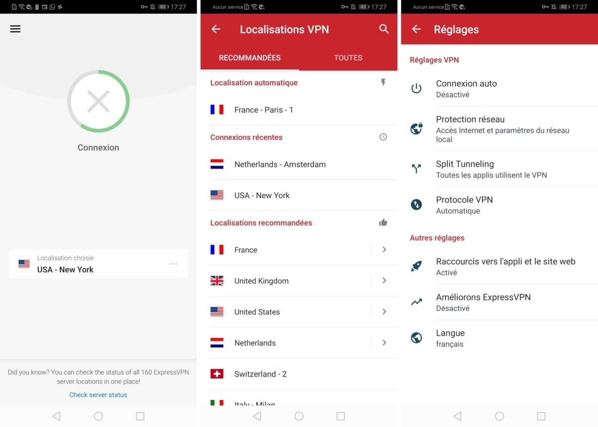 L'application Android d'ExpressVPN est très simple à prendre en main… et intégralement traduite en français.