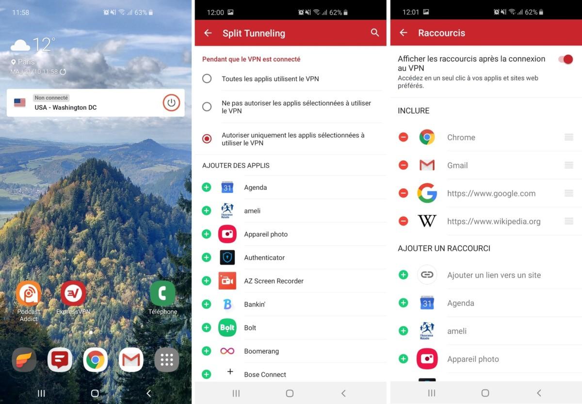 L'application Android comprend de nombreuses fonctionnalités pratiques : widget, Split Tunneling, mais aussi possibilité d'afficher des applications et des sites web sur la page de lancement du VPN.