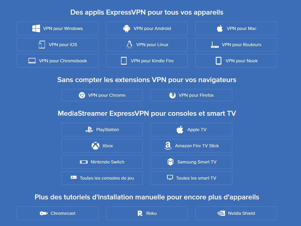 La liste des appareils sur lesquels il est possible d'installer ExpressVPN est particulièrement fournie.