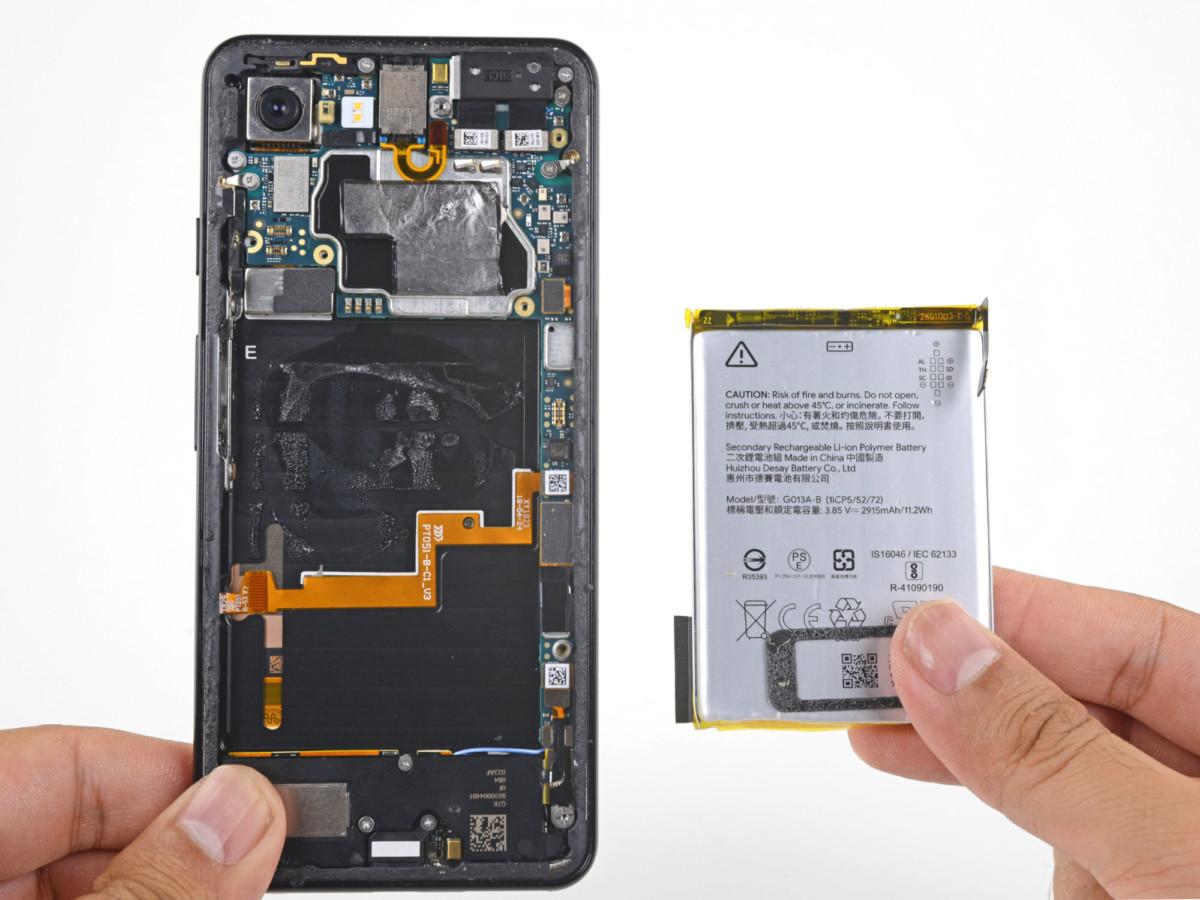 Batterie du Google Pixel3 – Crédit image: iFixit