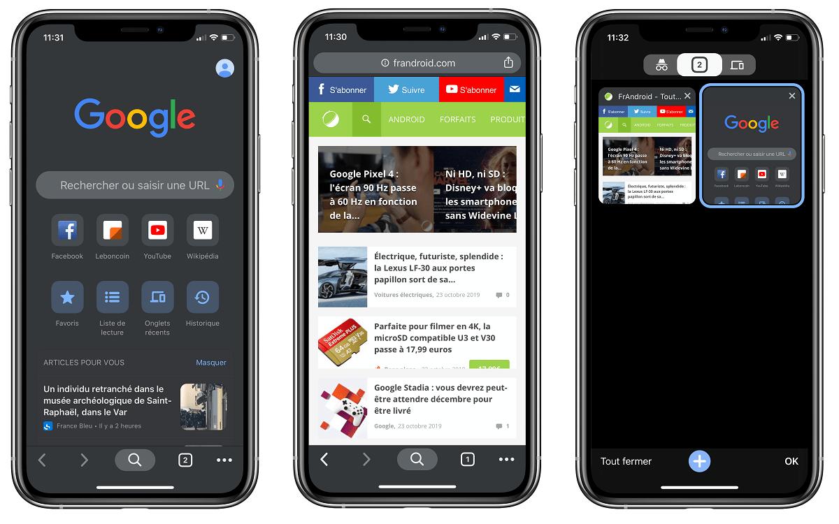 Google Chrome passe au thème sombre natif sur iOS… avant Android