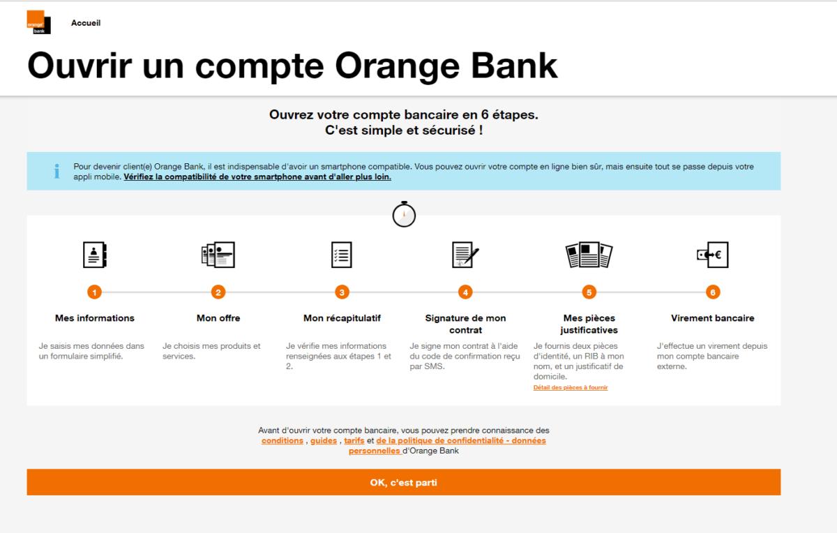 La liste des étapes à réaliser pour ouvrir un compte sur Orange Bank.