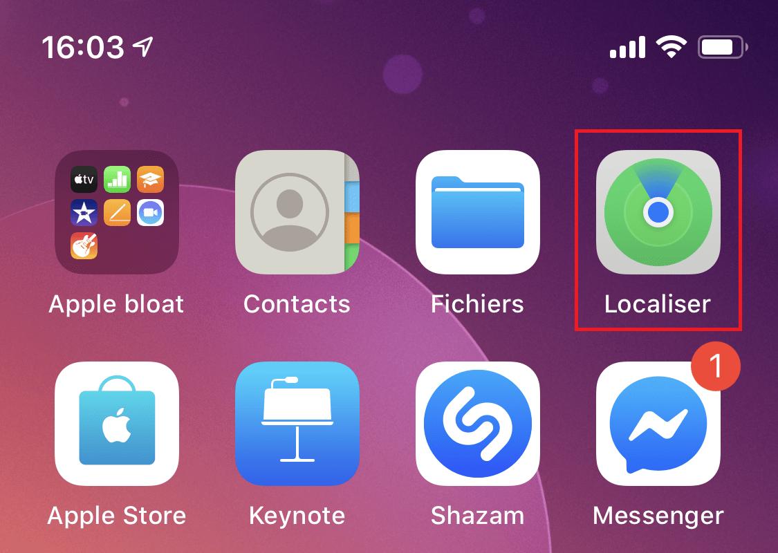 La nouvelle icône de l'application Localiser