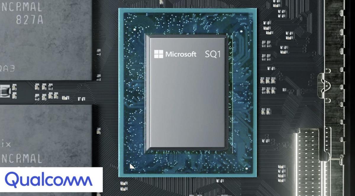 Ici la puce ARM Microsoft SQ1, conçue en partenariat avec Qualcomm, pour illustration