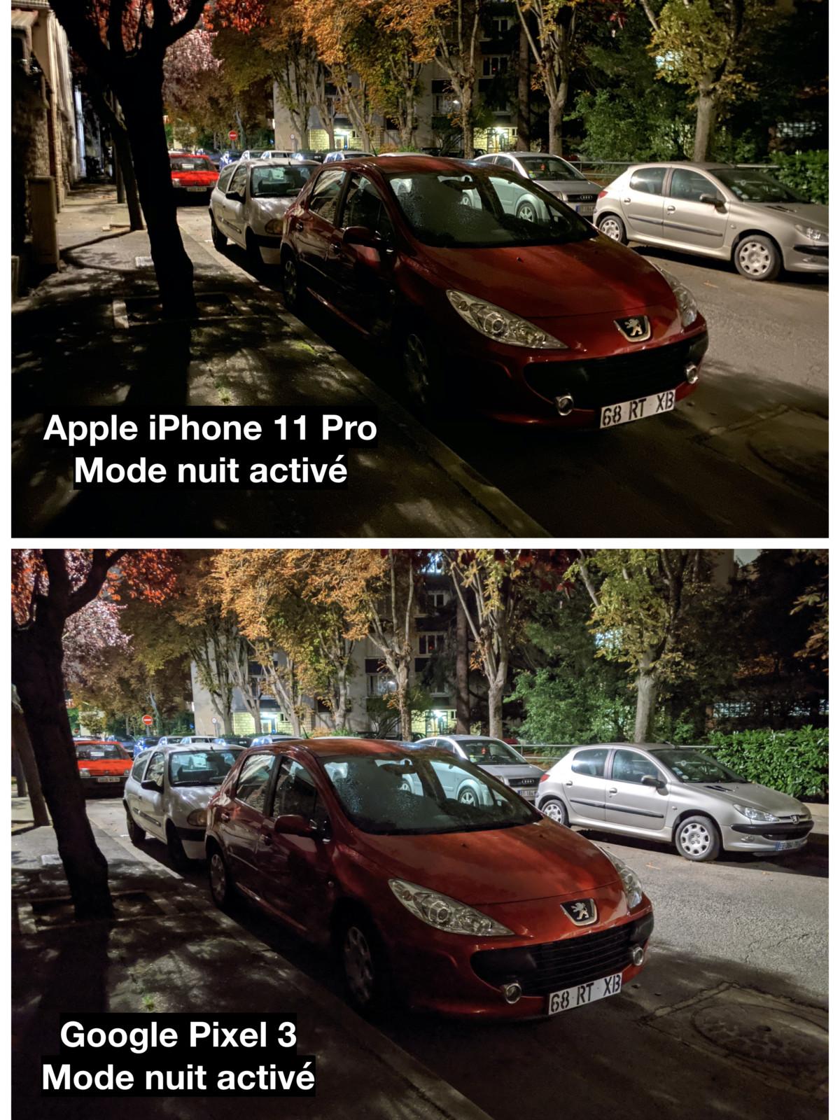 Mode nuit // Comparaison entre l'iPhone 11 Pro et le Pixel 3
