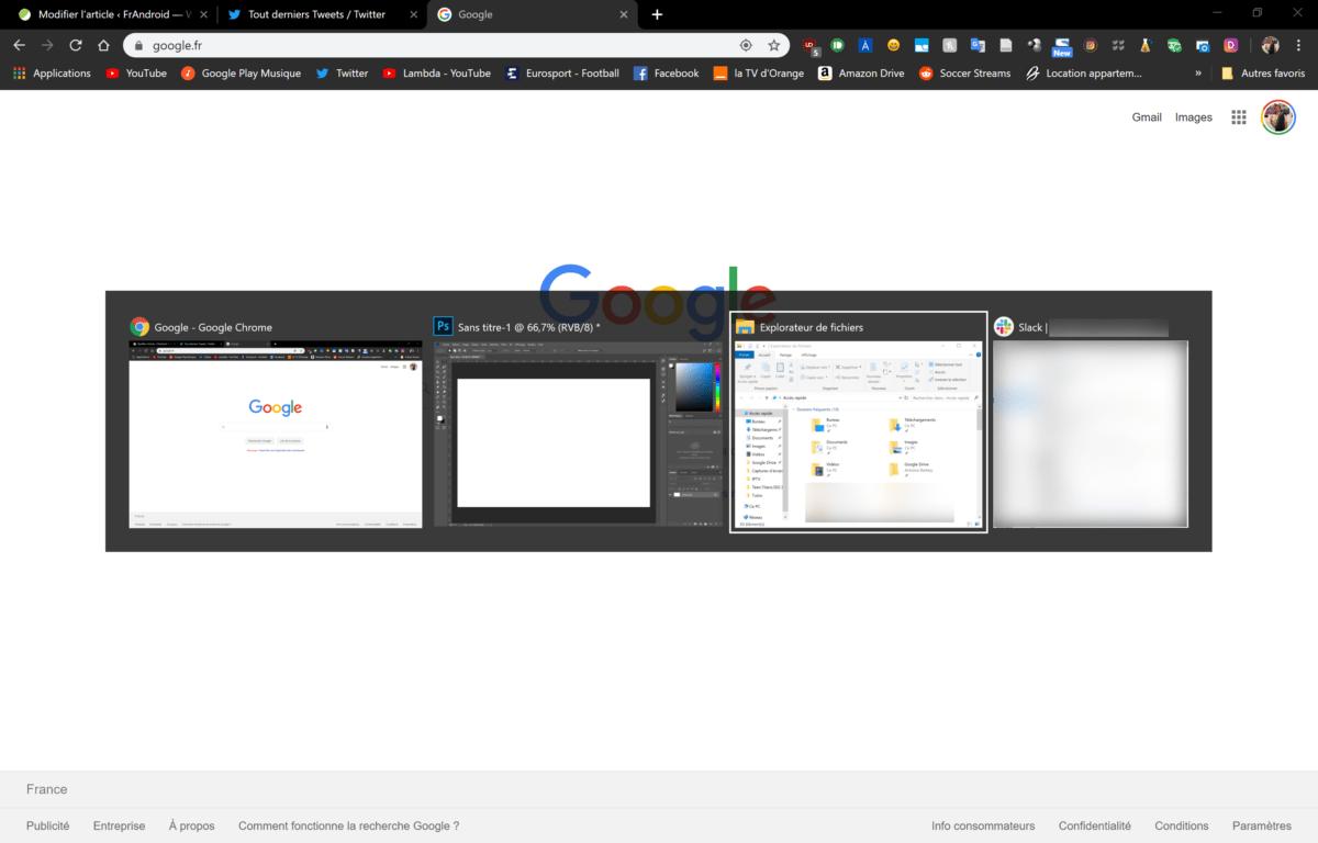 Une menu s'affiche, il suffit de cliquer sur tab pour sélectionner la bonne fenêtre puis de relâcher la touche alt pour que celle-ci s'ouvre en premier plan