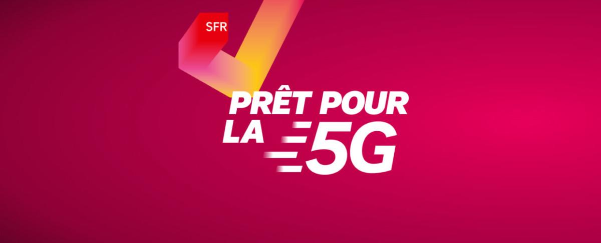 """Logo SFR """"prêt pour la 5G"""""""