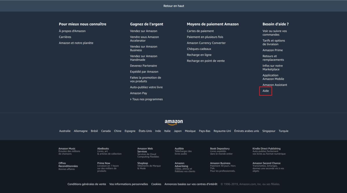 Bas de page du site Amazon
