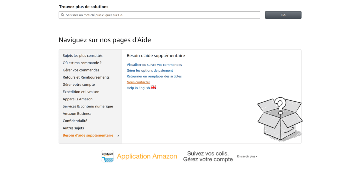 Page d'aide Amazon
