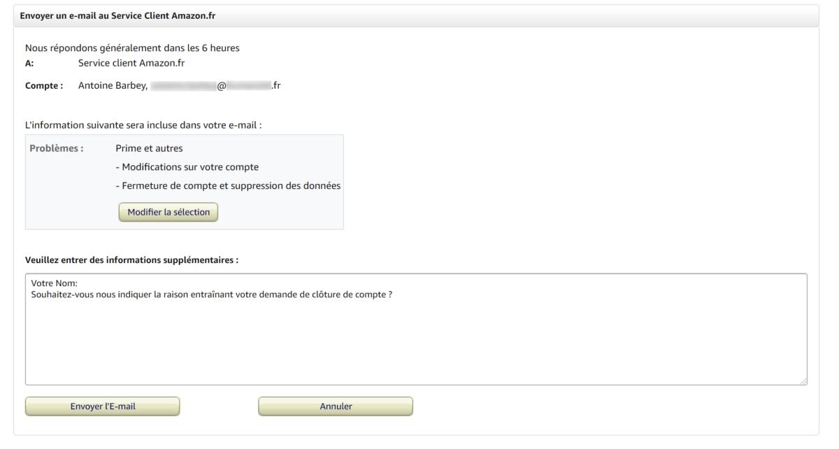 Questionnaire de suppression de compte Amazon