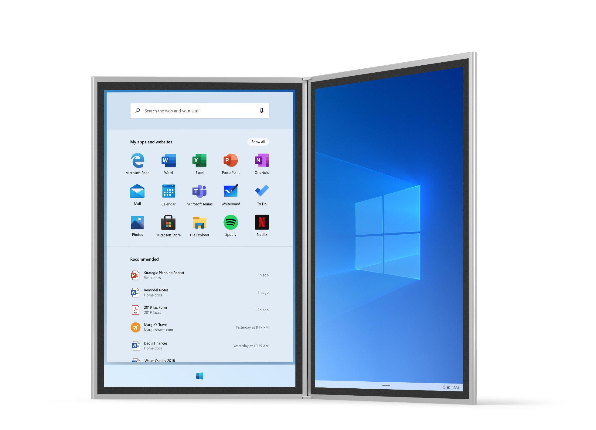Le nouveau menu Démarrer de Windows 10X