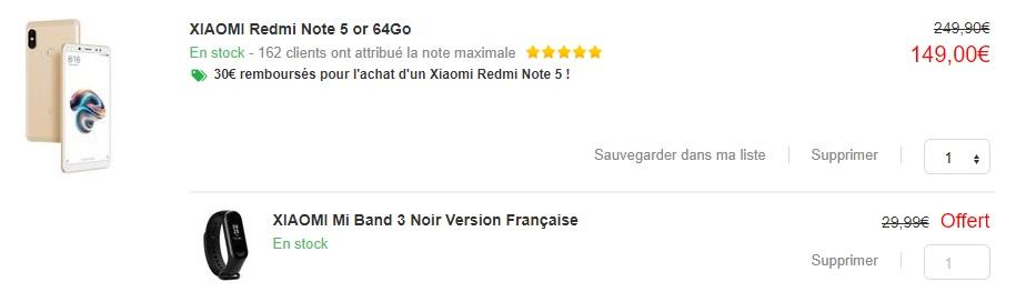 Le prix affiché pour le smartphone ne tient pas compte de l'ODR.