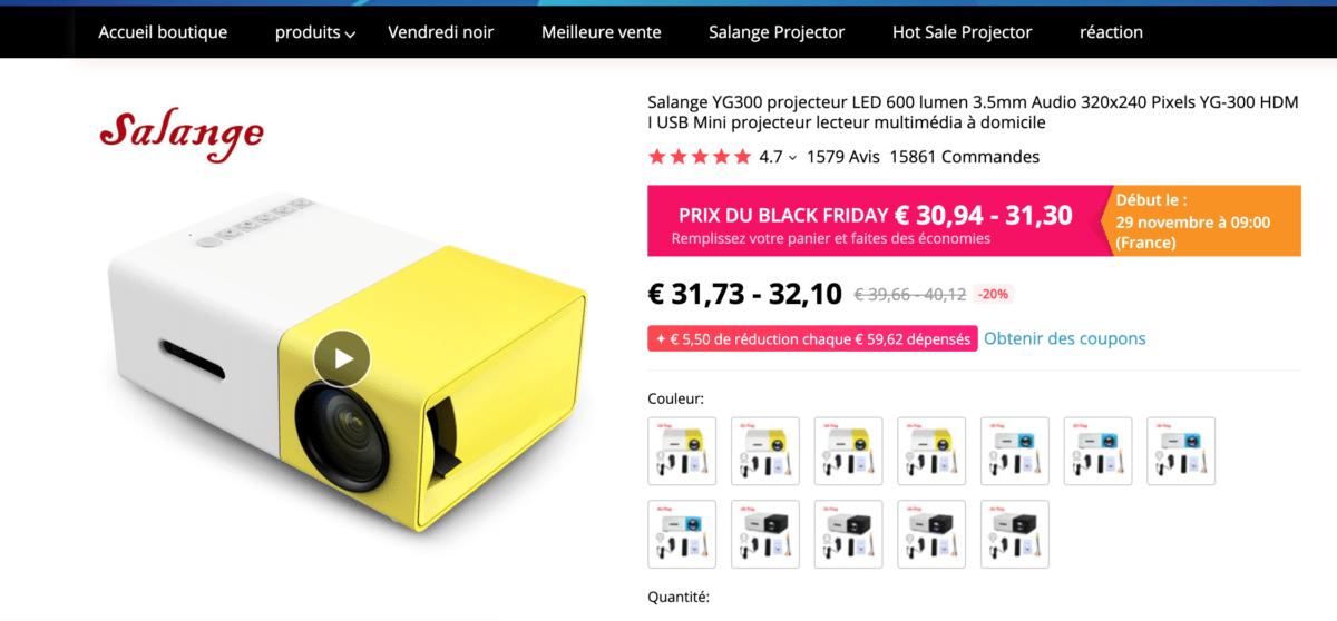 Un mauvais pico-projecteur que l'on trouve sur AliExpress
