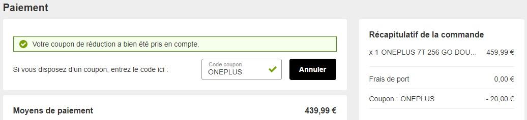 Prix final du OnePlus7T 256Go après avoir saisi le code promo «ONEPLUS».