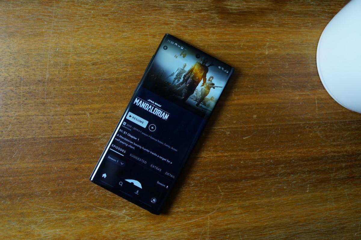 Disney+ sur un Galaxy Note10