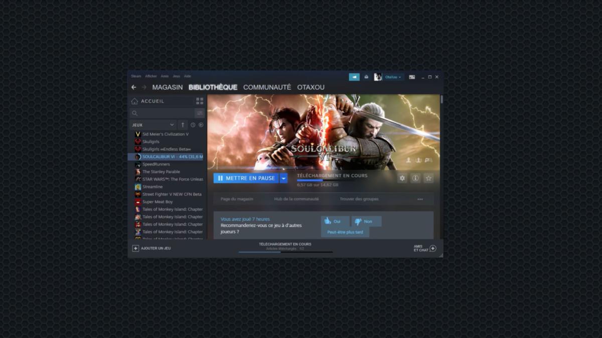 Steam dans l'interface GeForce Now