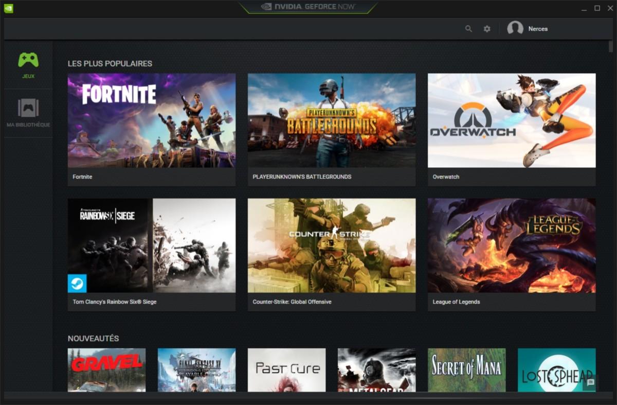 Interface de Nvidia GeForce Now