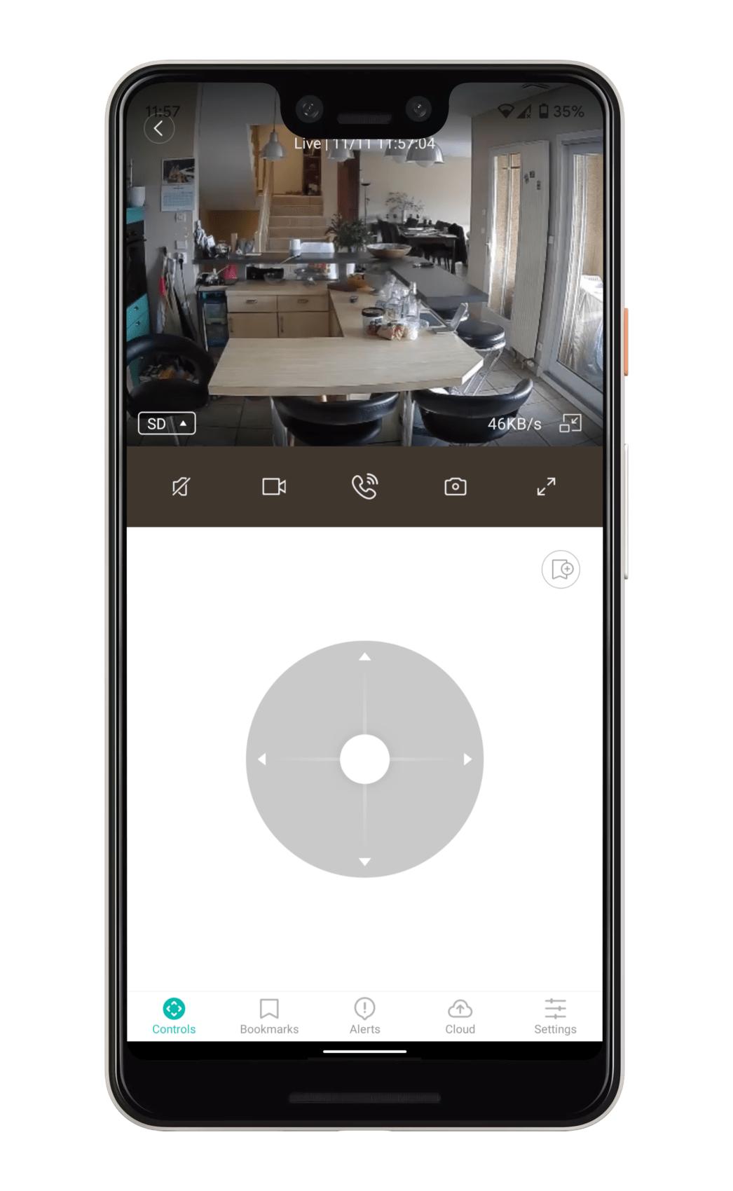 Application Kami Home sur Pixel 3 XL