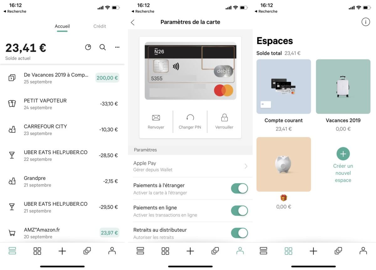 Il est possible d'agir sur sa carte bancaire directement depuis l'application. N26 propose également des «Espaces» pour placer virtuellement son argent.
