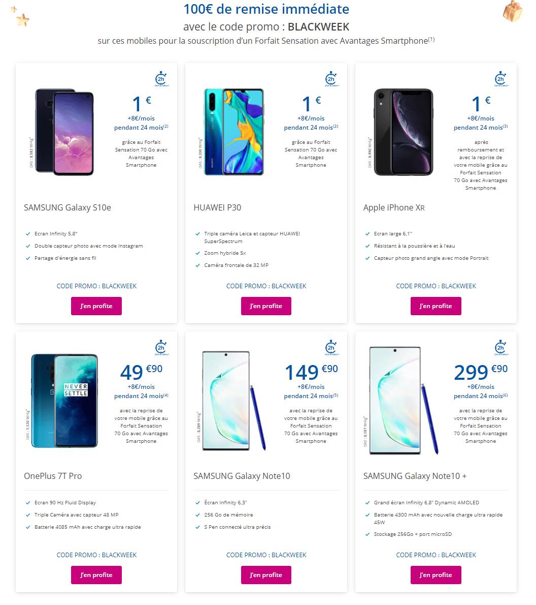 Huawei P30, OnePlus 7T Pro :Bouygues Telecom fait fondre le prix des smartphones pour le Cyber Monday