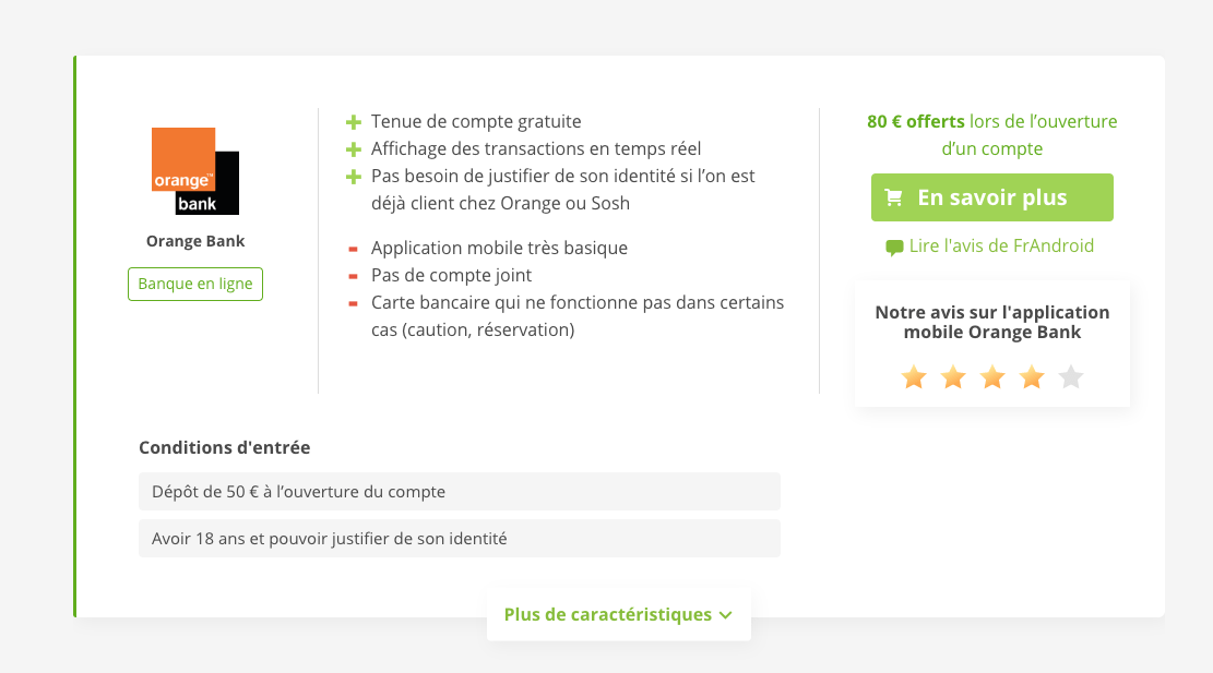 Exemple avec Orange Bank