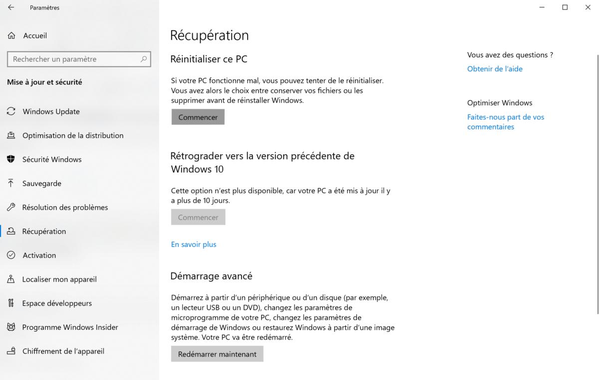 Comment réinitialiser son PC Windows10