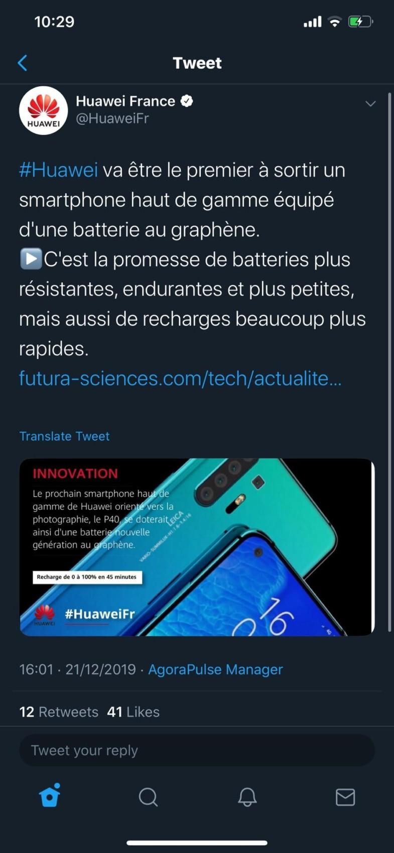 Huawei confirme (presque) que le P40 profitera d'une batterie au graphène