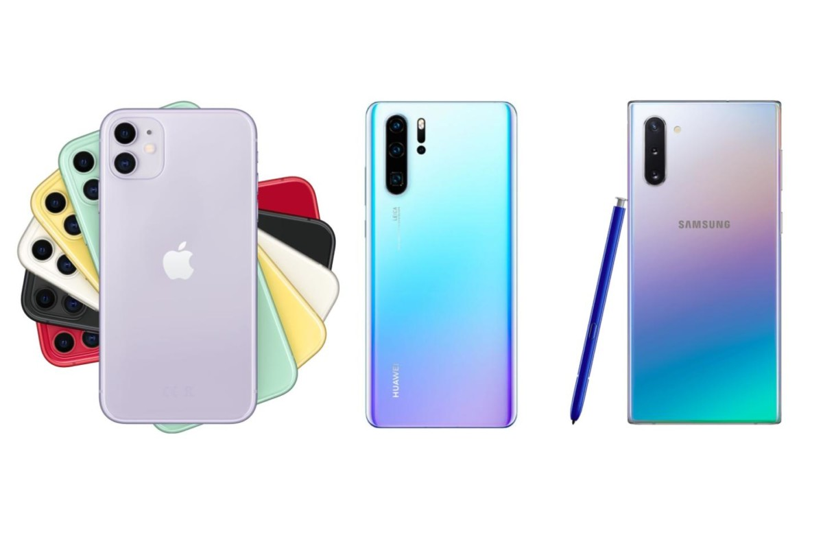 Apple iPhone 11, Huawei P30 Pro et Samsung Galaxy Note 10